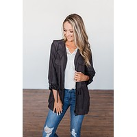 Care About You Lightweight Jacket- Charcoal
