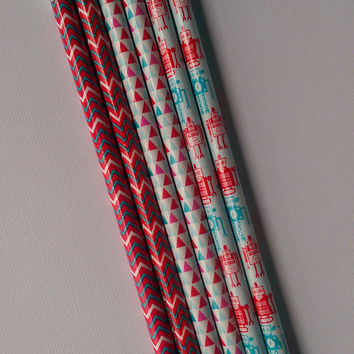 Set of 6 Pencils, Chevron Pattern, Geometric Triangle Pattern, and Robot Pattern, Back to School, Journaling, Writing, Red and Blue,Teachers