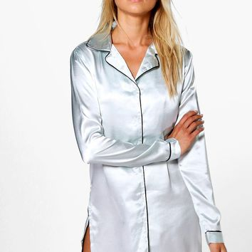 Maisy Satin Button Through Night Shirt