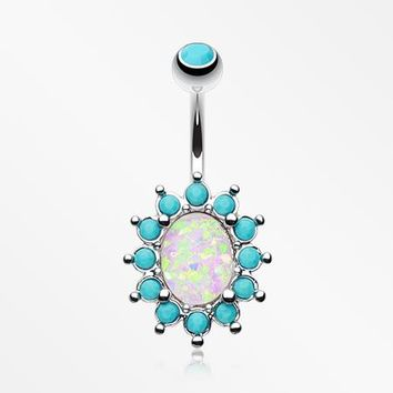 Elegant Opal Turquoise Belly Button Ring