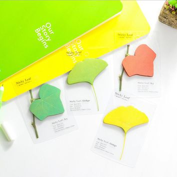 1 x emulational leaf memo pad paper sticky notes notepad post it kawaii stationery papeleria school supplies material escolar