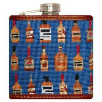 Bourbon Needlepoint Flask in Blue by Smathers & Branson