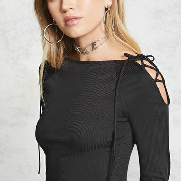 Ribbed Lace-Up Shoulder Top