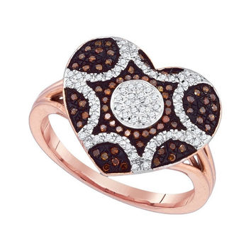 10kt Rose Gold Womens Round Red Colored Diamond Starburst Heart Cluster Ring 1/3 Cttw