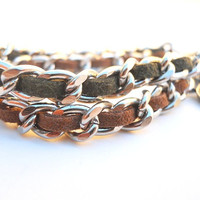 Double woven arm party bracelet - Green and Brown suede cord weaved in nickel chain