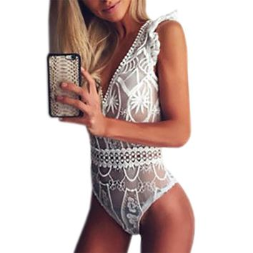 Summer Lace Bodysuits Sleeveless V-neck Slim Sexy Bodysuit 2017 Clubwear Body Top Black White Overalls Women Jumpsuits GV682