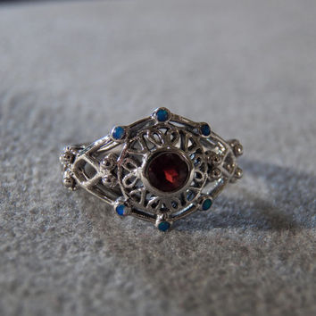 Vintage Sterling Silver Round Garnet 6 Round Opal Fancy Filigree Scrolled Etched Victorian Style Band Ring, Size 7