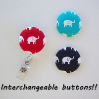 Interchangeable Retractable ID Badge Holders reel  - 1 reel and 3 interchangeable buttons - elephants