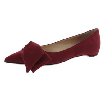 Paul Andrew Womens Corsage Textured Bow Detail Ballet Flats