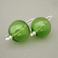 Green Handblown Glass Bubble and Sterling Silver Earrings | The Silver Forge Handcrafted Jewellery