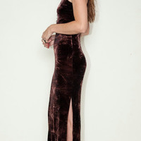 Crushed velvet tie dye maxi dress with slit