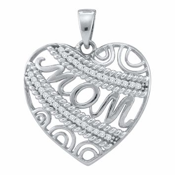 10kt White Gold Womens Round Diamond Mom Mother Filigree Heart Pendant 1/10 Cttw