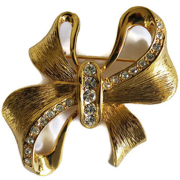 Vintage Rhinestone Bow Brooch In Gold Tone Christmas Bow Brooch