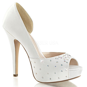 Lolita 09 Ivory White Satin Asymmetrical Cut Wedding Shoe