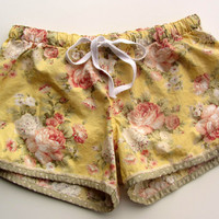 Pretty Yellow  Rose Floral Cotton Pajama Sleep Lounge Shorts  Made to Order