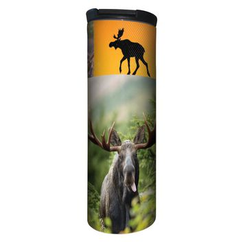 Moose Collage Barista Tumbler Travel Mug - 17 Ounce, Spill Resistant, Stainless Steel & Vacuum Insulated