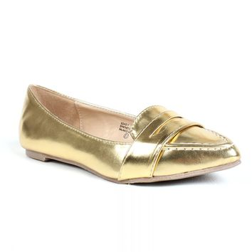 Gold Pointed Loafers