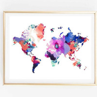 floral world map painting map art print room decor Typographic Print drawing wall decor framed quotes travel poster tumblr room decor 8x10