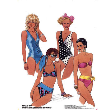 Retro 80s Bikini bathing suit one and two piece swimsuit sewing pattern McCalls 4321  SZ 10