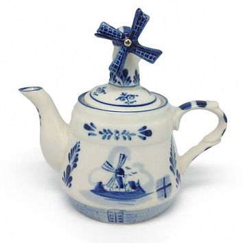Blue Tea Pot with Windmill Lid