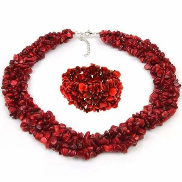 "18"" Multi Strands Red Simulated Coral Chips Cluster Necklace and Bracelet Set"