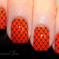 NAILICIOUS TEN Fishnet with Bow Art Water Nail Wraps Transfer Decal 12pcs - ST8062