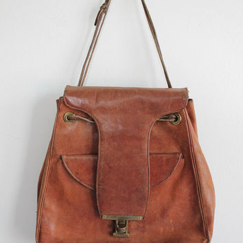 Vintage 30s Bohemian Leather Saddle Bag | Distressed Leather Purse