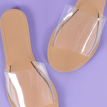 Wild Diva Lounge Open Toe Transparent Slide Sandal | UrbanOG
