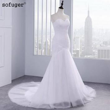 Hot Sale Sexy Tulle Strapless Trumpet Mermaid Wedding Dresses 2018 Cheap Beach Bridal Dress Vestidos de Noivas With Lace Up Back