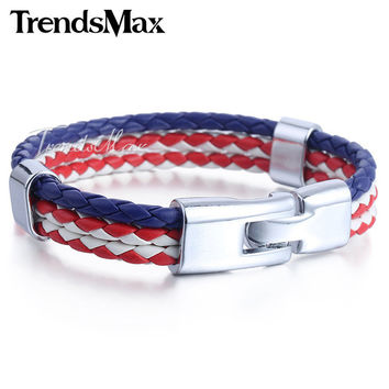 Trendsmax US/American Flag 3 Strands Man-made Leather Bracelet Wristband Surf Mens Womens Fashion Jewelry LB689