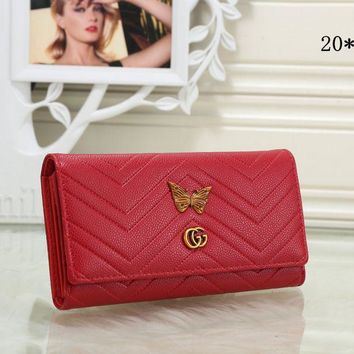 Gucci Popular Women Metal Letter Butterfly Leather Purse Wallet(8-Color) Red I-MYJSY-BB