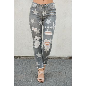 Star Girl Distressed Jeans (Black Denim)