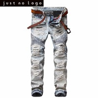 Mens Whitish Bleached Blue Destroyed Biker Jeans Distressed Straight Pleatea Slim Fit Denim Pants Ripped Skinny Trousers