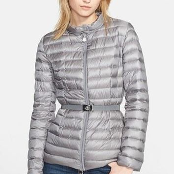 Women's Moncler 'Damas' Belted Packable Down Jacket