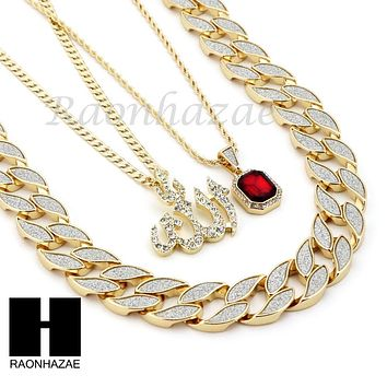 """ICED OUT RUBY ALLAH PENDANT 24"""" 30"""" CUBAN LINK ROPE CUBAN NECKLACE SET D021"""