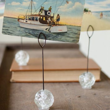Set of 4 Clear Acrylic Card/Photo Holders - Round