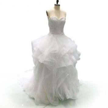 Ball Gown Ivory Wedding Dresses Puffy Lace Beaded White cap Sleeve Wedding Gowns long train