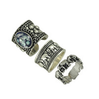Vintage Boho Jewelry Rings Unique Faux Stone Cuff Ring and Elephant Ring Set 3pcs/Set