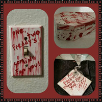 "freddy kreuger ""1, 2, freddy's coming for you"" light switch plate or plug cover gore halloween horror handmade"