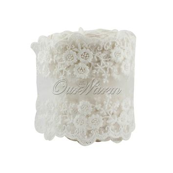 OurWarm 1M Cotton Lace Ribbon Embroidered Net White Lace Trim for Wedding Party Decoration Sewing Clothing Bride Accessories