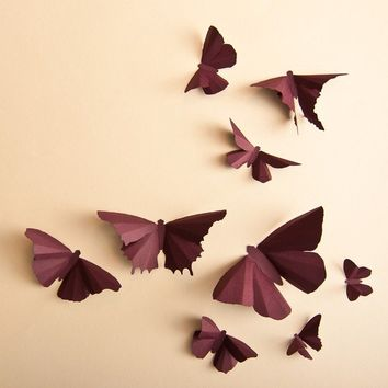3D Wall Butterflies, 20 Plum Butterfly Silhouettes for Girls Room, Nursery, and Home Art Decor