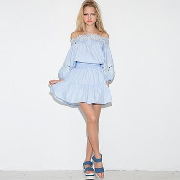 Dress Strapless Straight Collar Elastic Waist Skirt Women Stripe Blue Blouse Dress - Beauty Ticks