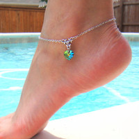 Silver Chain Anklet With Swarovski Crystal Heart Pendant in Vitrail  Meduim