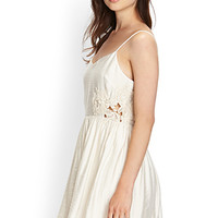 LOVE 21 Crochet Cutout Cami Dress Cream