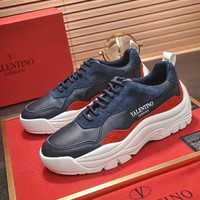 VALENTINO winter new tide brand lightweight breathable wild outdoor casual shoes blue