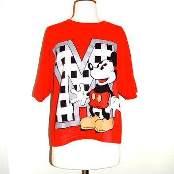 vintage 90s mickey mouse tee shirt . hip hop . one size fits most