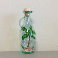 Glass Bottle Hand Painted with Palm Trees