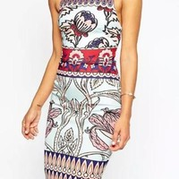 Multicolor Clean Placed Mixed Floral Print Scuba Midi Dress