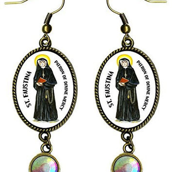 "Saint Faustina Patron of Divine Mercy Antique Bronze Gold Iridescent Rhinestone Long 2 1/2"" Dangling Earrings"