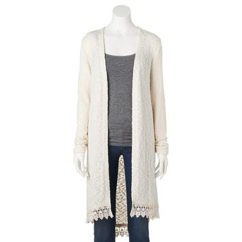 Heart N Crush Crochet Trim Long Cardigan - Juniors